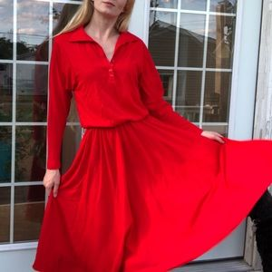 Vintage red long pleated dress